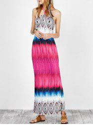 Halter Open Back Printed Maxi Dress