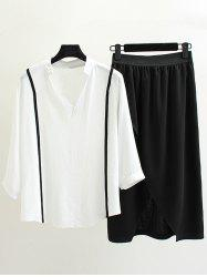 Plus Size V Neck Top With Skirt
