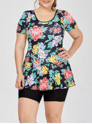 Plus Size Hawaiian Printed One Piece Bathing Suit