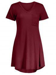 Casual Short Sleeve A Line T Shirt Swing Dress - MAROON