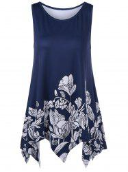 Long Flower Asymmetric Tank Top - DEEP BLUE L