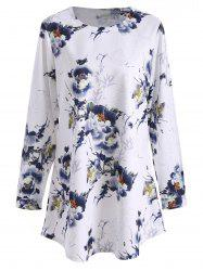Long Sleeve Floral Plus Size Top