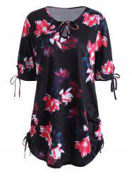 Keyhole Neck Floral Plus Size Top