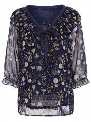 Printed Chiffon Plus Size Top