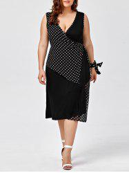Plus Size Sleeveless Polka Dot Wrap Dress