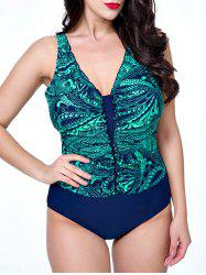 Plunging Neck Print Plus Size Bathing Swimwear