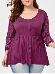 Plus Size Button Lace Insert Swing Top