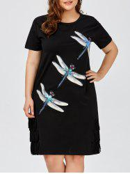 Plus Size Insect Sequined Fringe Tee Dress