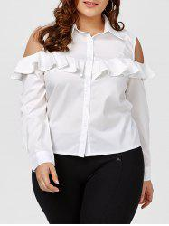 Plus Size Flounce Cold Shoulder Long Sleeve Shirt