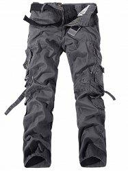 Métal Pockets Zipper design Straight Leg Cargo - Gris