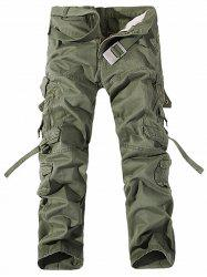 Metal Pockets Zipper Design Straight Leg Cargo Pants