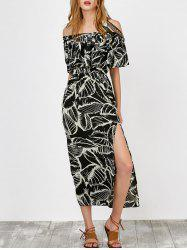 Printed Off The Shoulder Flounce Long Summer Dress with Slit