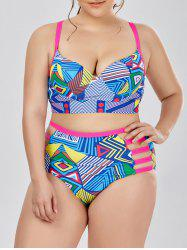 Plus Size Cutout High Waist Retro Bikini