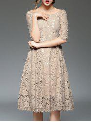 Off Shoulder Lace Cocktail Knee Length A Line Swing Party Dress With Sleeves -
