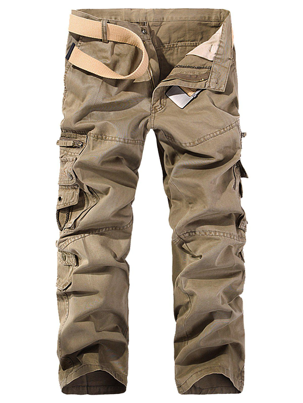 Online String Embroidered Multi Pockets Cargo Pants