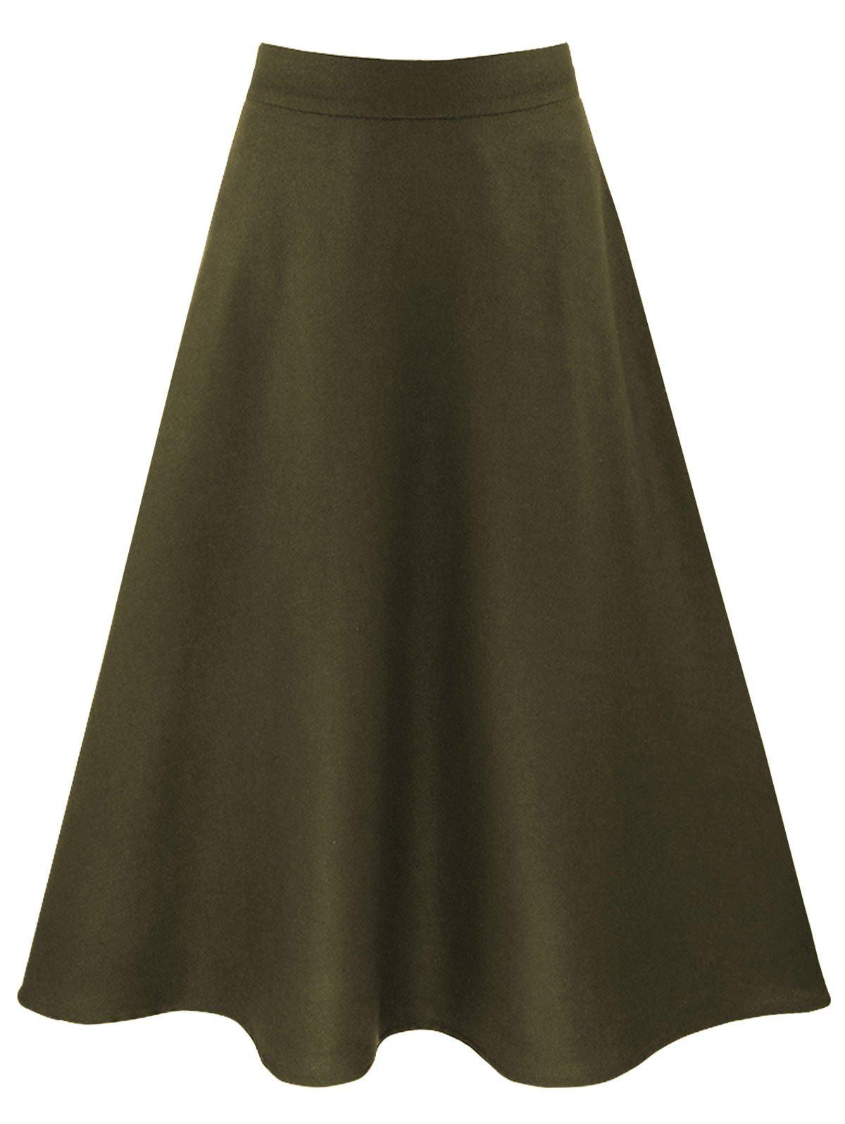 army green m high waisted a line skirt with pockets
