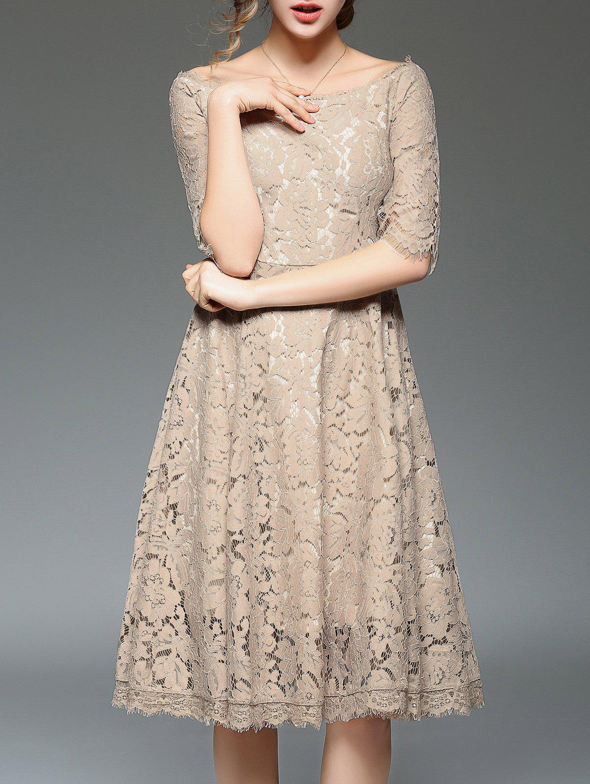 Affordable Off Shoulder Lace Cocktail Knee Length A Line Swing Party Dress With Sleeves