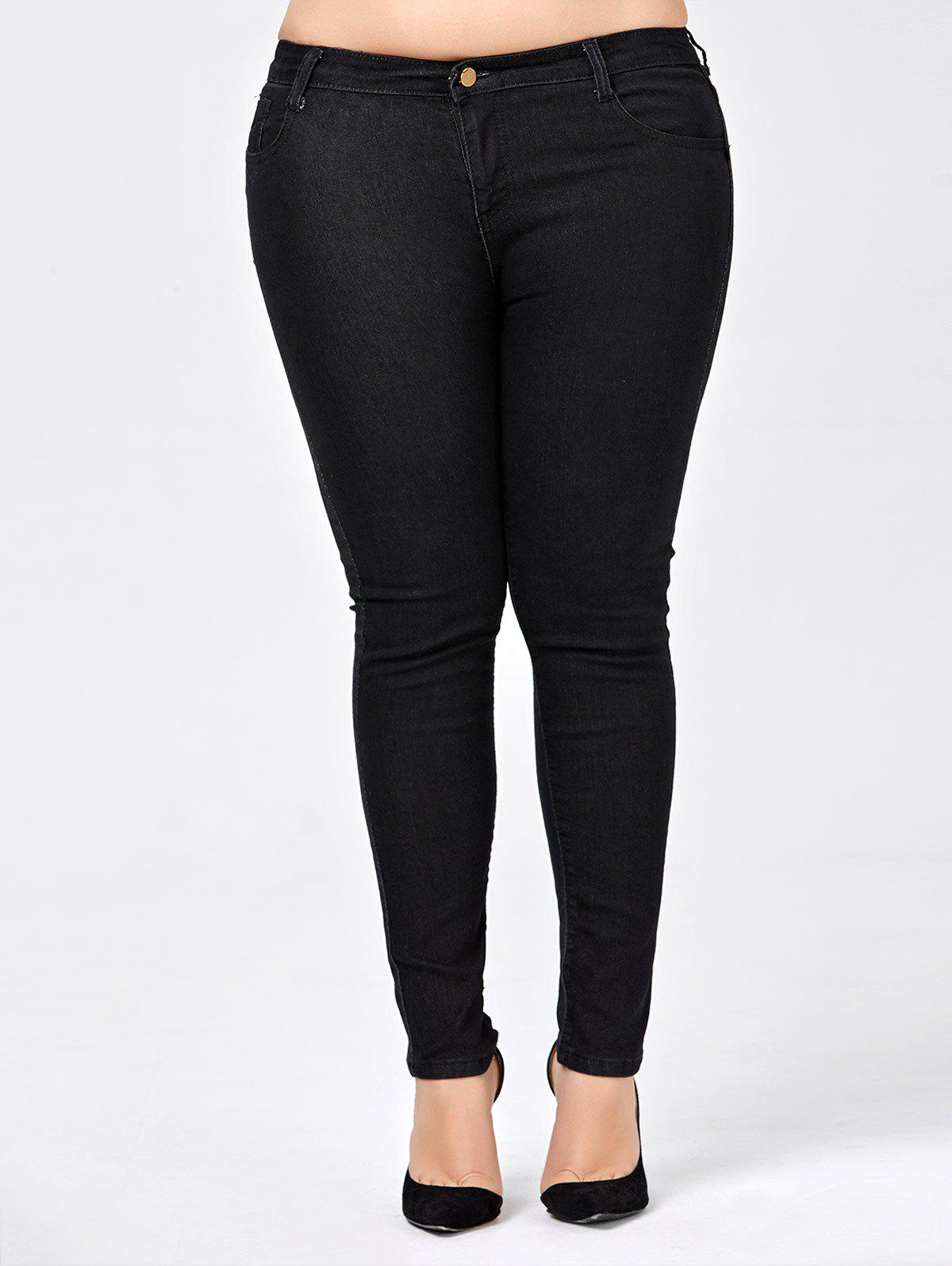 Plus Size Skinny Jeans with PocketWOMEN<br><br>Size: 2XL; Color: BLACK; Style: Fashion; Length: Normal; Material: Jeans; Fabric Type: Denim; Fit Type: Skinny; Waist Type: Mid; Closure Type: Button Fly; Front Style: Flat; Pattern Type: Solid; Embellishment: Pockets; Pant Style: Pencil Pants; With Belt: No; Weight: 0.5200kg; Package Contents: 1 x Jeans;
