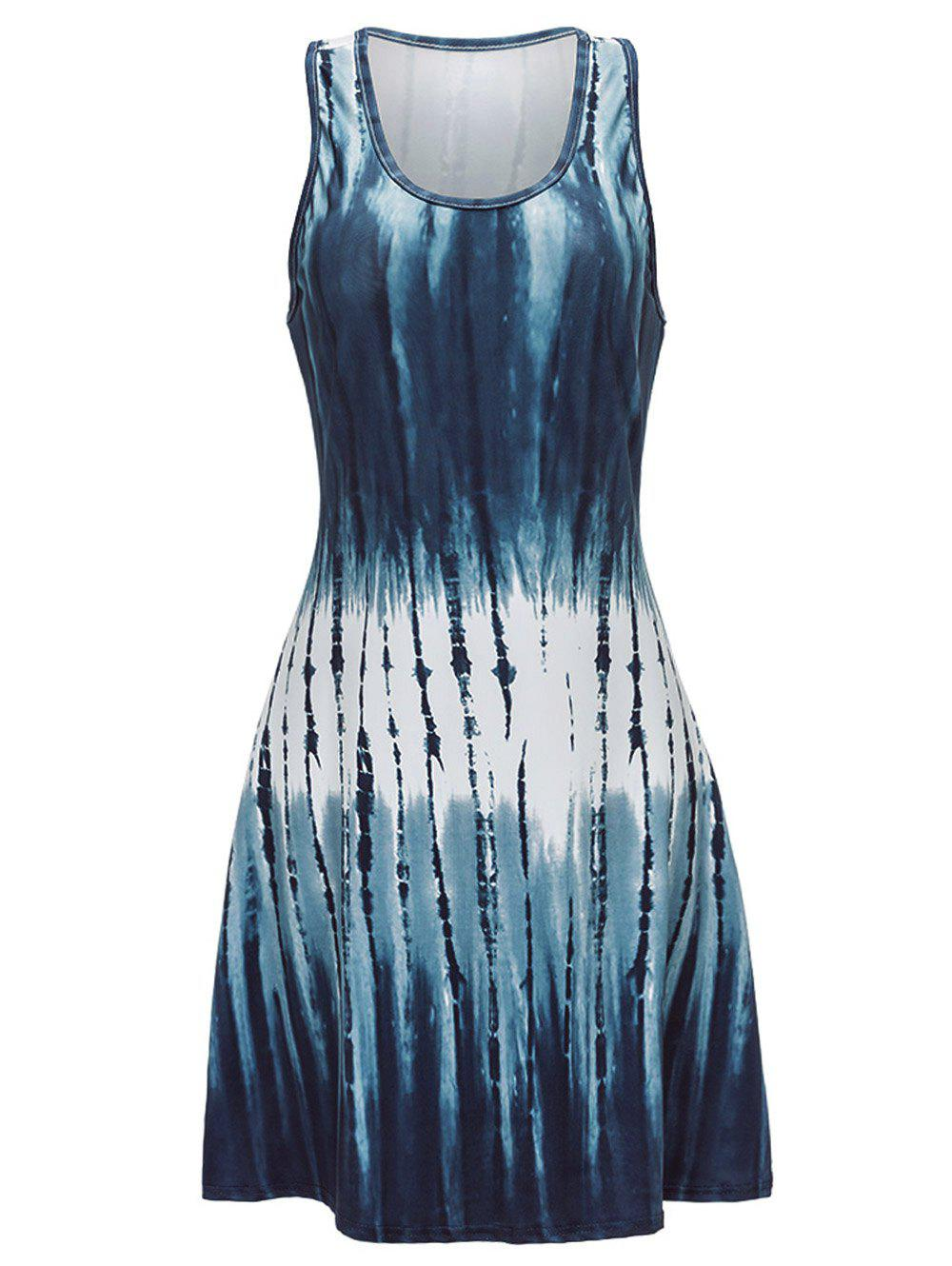 Hot U Neck Abstract Print Mini Tank Dress