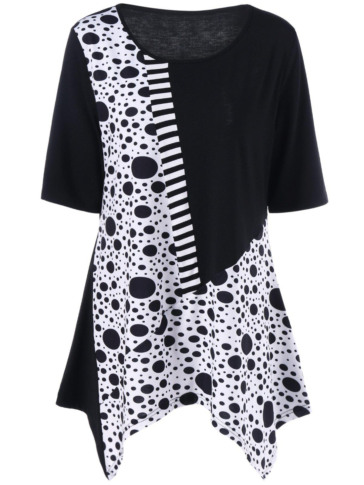 Plus Size Polka Dot Panel Asymmetric T-ShirtWOMEN<br><br>Size: 4XL; Color: WHITE AND BLACK; Material: Polyester,Spandex; Shirt Length: Long; Sleeve Length: Short; Collar: Scoop Neck; Style: Casual; Season: Summer; Pattern Type: Polka Dot; Weight: 0.3200kg; Package Contents: 1 x T-Shirt;