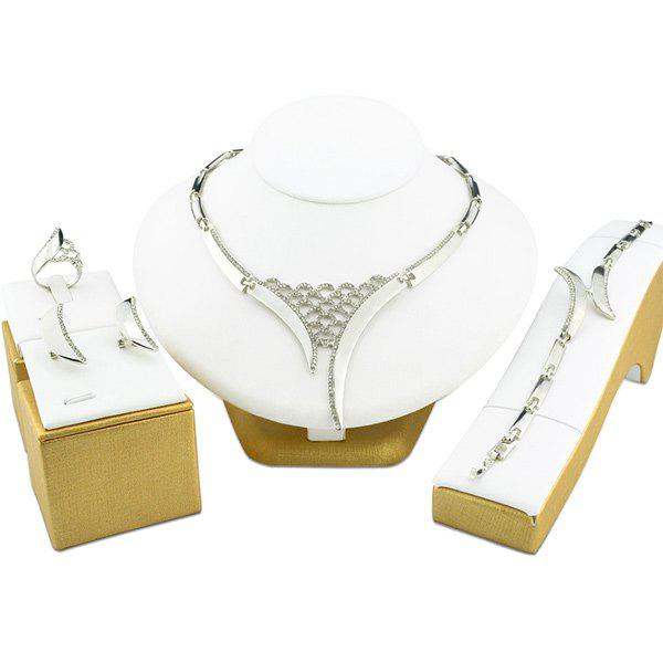 Plated Hollow Out Rhinestone Statement Necklace SetJEWELRY<br><br>Color: SILVER; Gender: For Women; Style: Noble and Elegant; Shape/Pattern: Others; Weight: 0.0800kg; Package Contents: 1 x Necklace 1 x Bracelet 1 x Ring 1 x Earring (Pair);