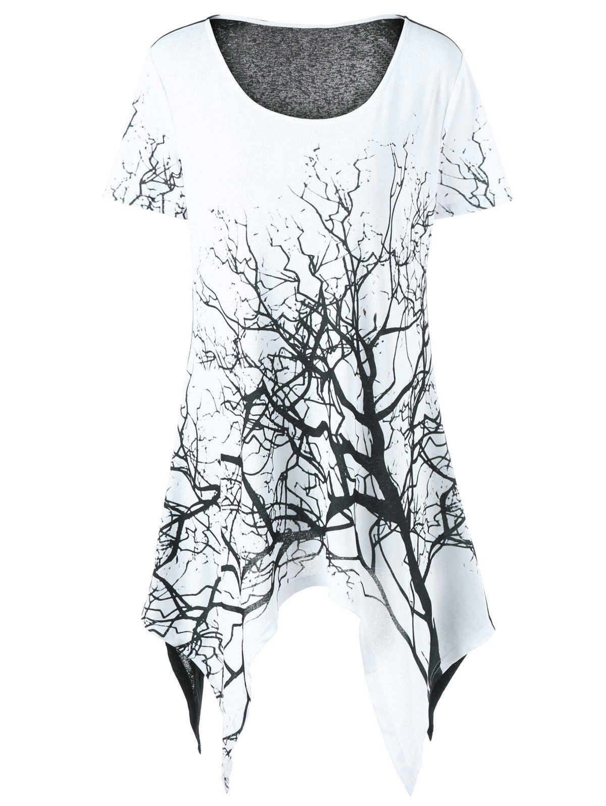 Plus Size Tree Print Asymmetrical T-ShirtWOMEN<br><br>Size: 3XL; Color: WHITE AND BLACK; Material: Polyester; Shirt Length: Long; Sleeve Length: Short; Collar: Scoop Neck; Style: Casual; Season: Summer; Pattern Type: Plant; Weight: 0.3200kg; Package Contents: 1 x T-Shirt;