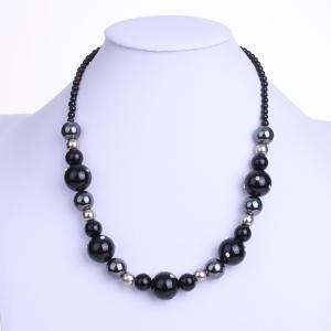 Alternated Sizes Faux Agate Ball Zircon Necklace