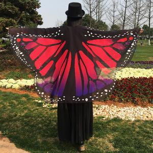Butterfly Wing Chiffon Pashmina Scarf - Red - 130*200cm