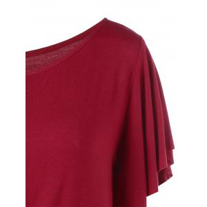 Skew Collar Drape Sleeve T-Shirt - WINE RED M