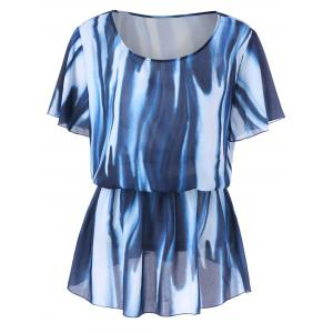 Plus Size Elastic Waist Tie Dye Blouse - Blue And White - Xl