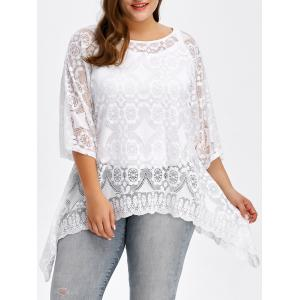 Plus Size Floral Asymmetrical Blouse - White - Xl