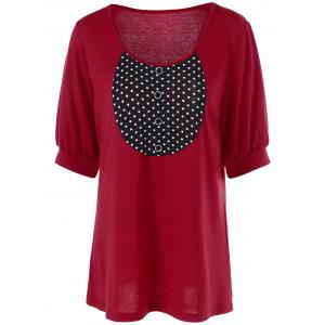 Plus Size Lantern Sleeve Longline T-Shirt - Red - Xl