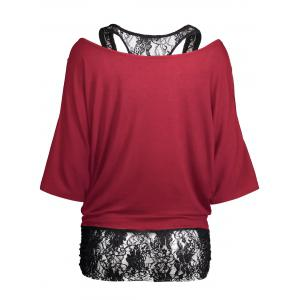 Cold Shoulder Batwing Lace Blouse - WINE RED 2XL