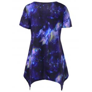 Long Galaxy Asymmetric T-Shirt - PURPLISH BLUE XL