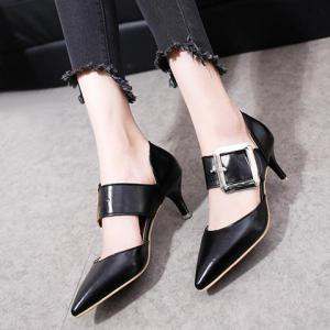 Buckle Strap PU Leather Pumps - BLACK 39