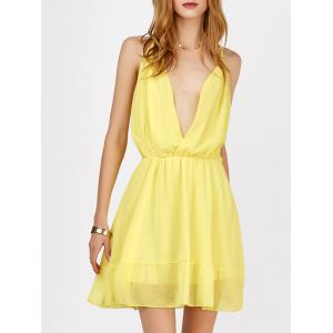 Mini Plunging V Neck Chiffon Club A Line Dress