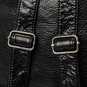Casual Faux Leather Braided Backpack - BLACK