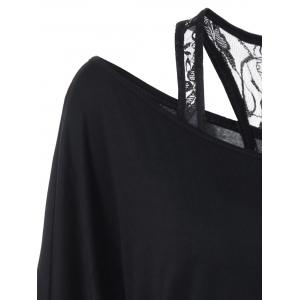 Lace Panel Lip Print Skew Collar T-Shirt - BLACK 2XL