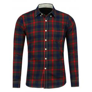 Button Down Flannel Pocket Plaid Shirt