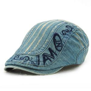 Letter Embroidery Do Old Denim Fabric Cabbie Hat For Men