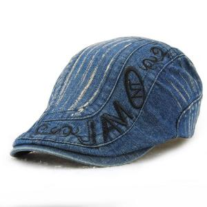 Letter Embroidery Do Old Denim Fabric Cabbie Hat For Men - Deep Blue - 42