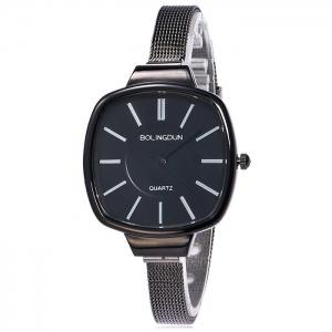Mesh Alloy Band Square Analog Watch