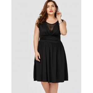Plus Size Mesh Panel Ruched Bridesmaid Dress -