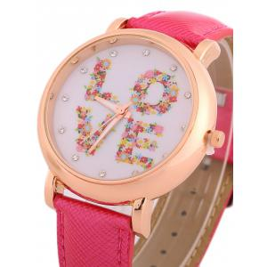 Faux Leather Rhinestone Floral Love Watch -