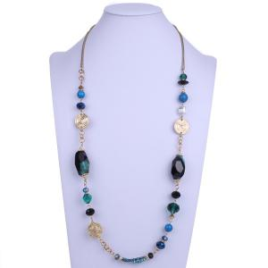 Bohemian Faux Gem Beads Sweater Chain - Blue Green