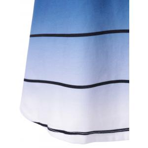 Striped Ombre Curved T-Shirt - BLUE M