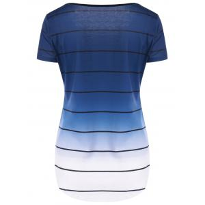 Striped Ombre Curved T-Shirt -