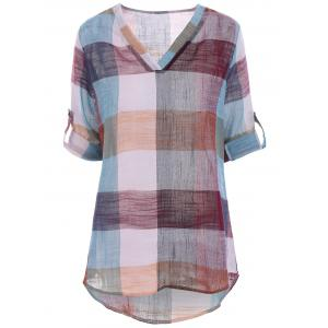 Color Block Plaid Plus Size Linen Blouse - CHECKED XL
