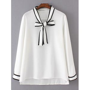 Bow Tie Long Sleeve Plus Size Blouse