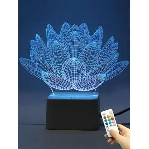Remote Control 3D Visual Aloe Plant 10 Color Changing Night Light - Transparent - 9.5*7*5cm